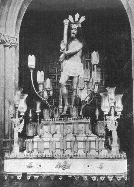 Primera salida en el año 1926, de la imagen de Nuestro Señor de la Flagelación desde la iglesia de San Isidoro de Úbeda.